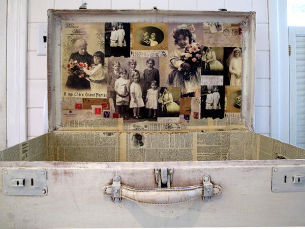 Decoupaged Vintage Suitcase (Red Lead Shop)