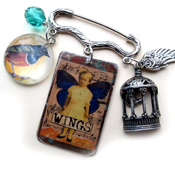 Mixed-media-pin-wings!