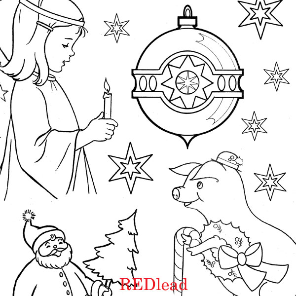 New Christmas Coloring Pages - Collage Sheets (Red Lead Shop)